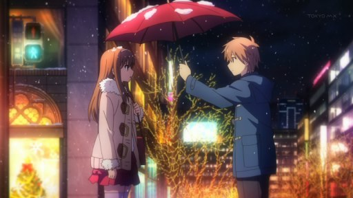 sakurasou_no_pet_na_kanojo-14-nanami-sorata-romance-umbrella-snow-christmas-lights-city