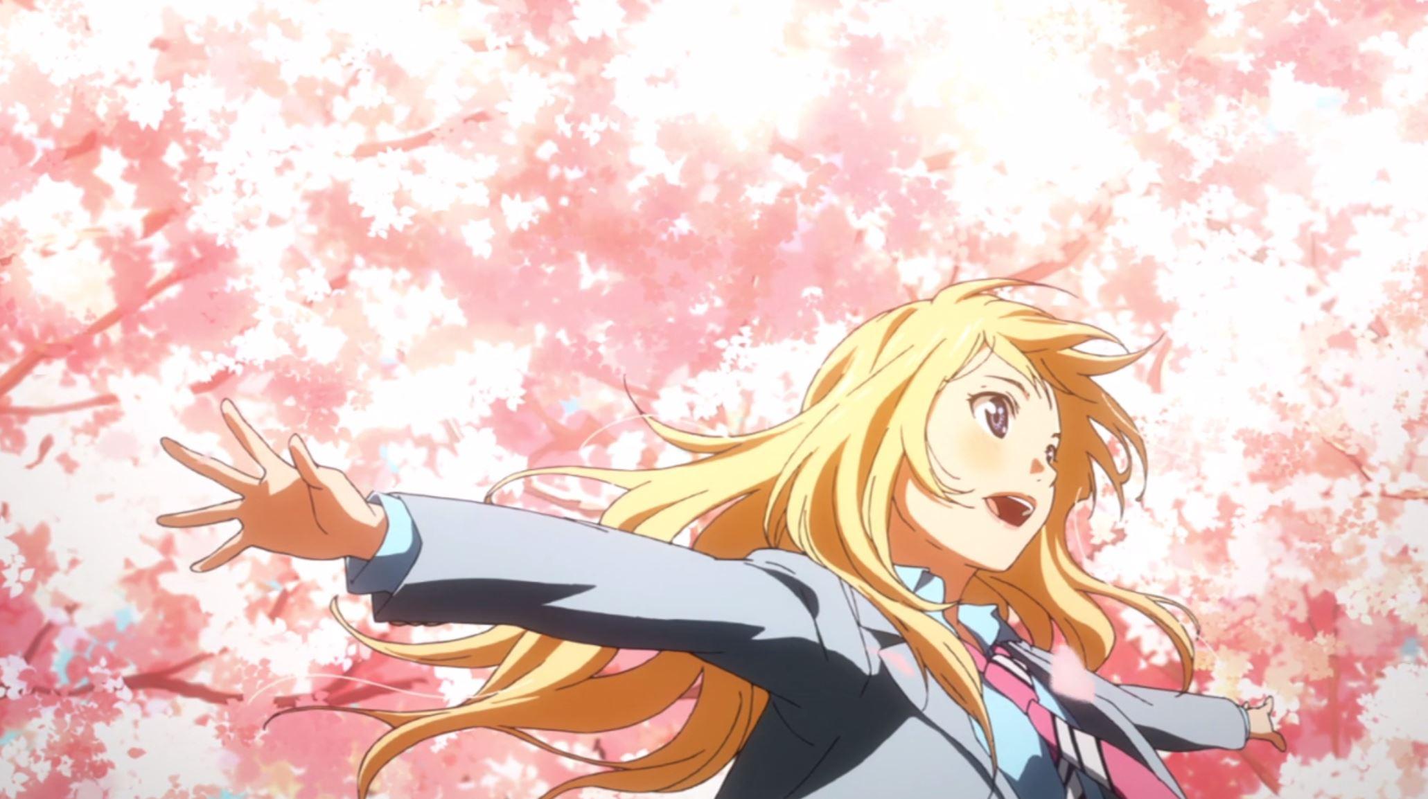 満開の桜の花が咲く中両手を広げる宮園かをり